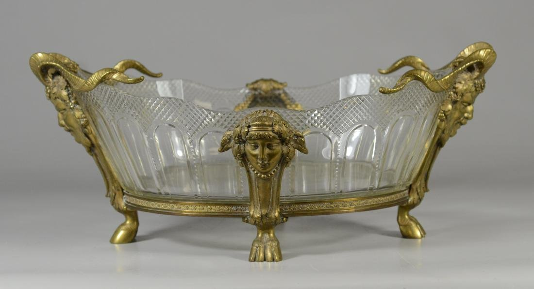 French Empire style bronze and crystal console bowl - 2