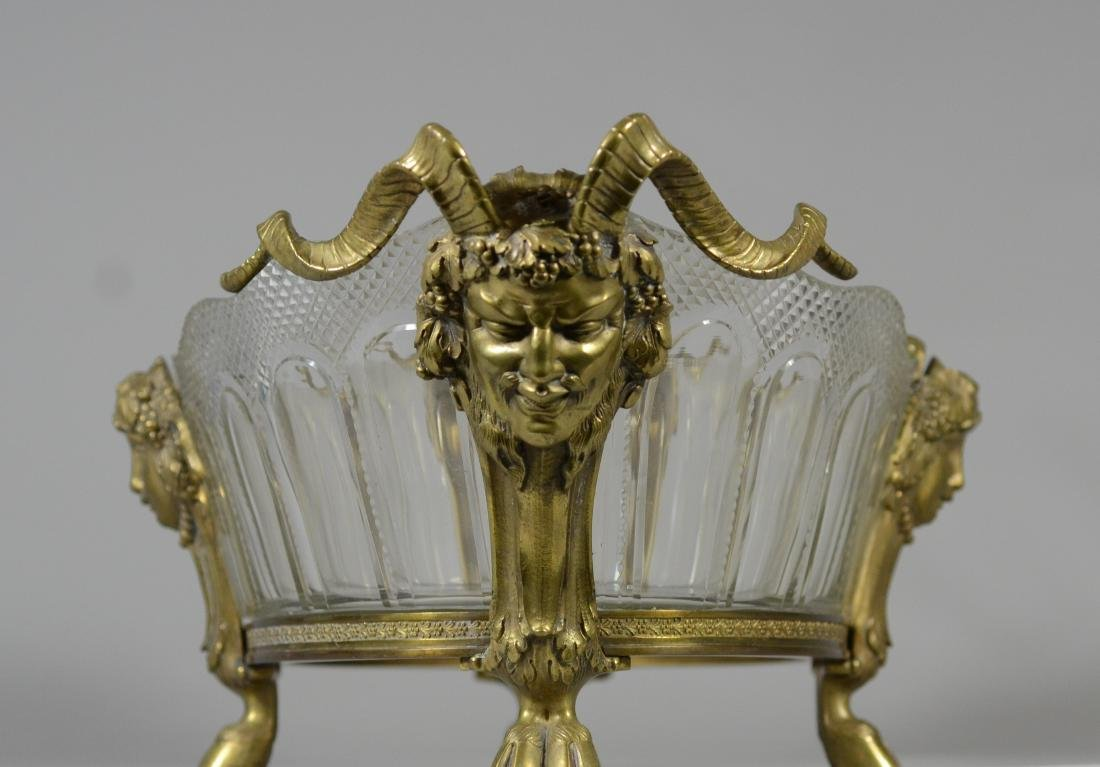 French Empire style bronze and crystal console bowl - 5