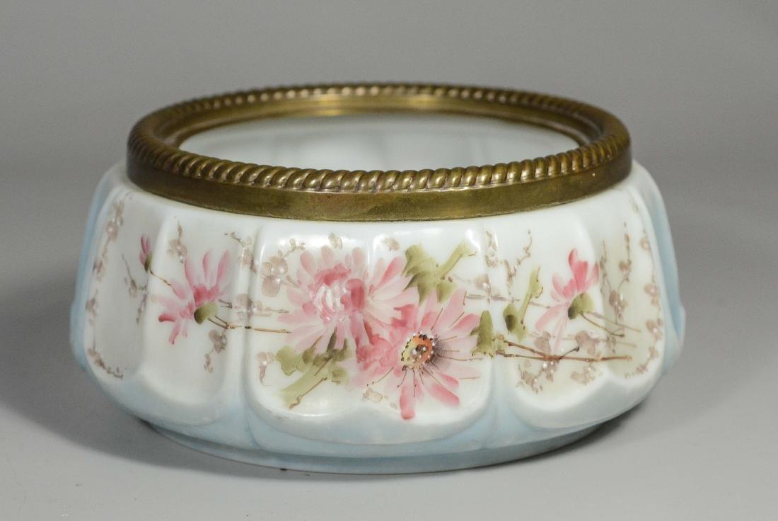 Wavecrest low bowl with floral painted decoration