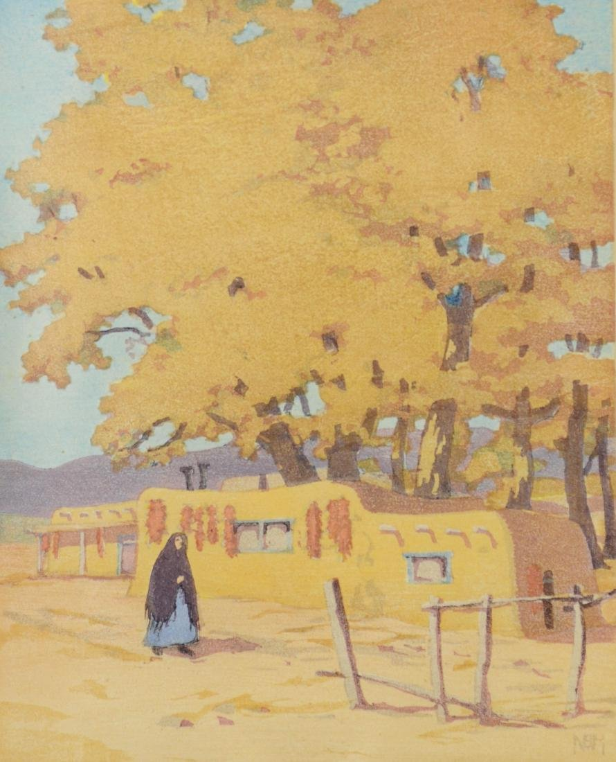 Norma Bassett Hall, color woodblock October in Santa Fe