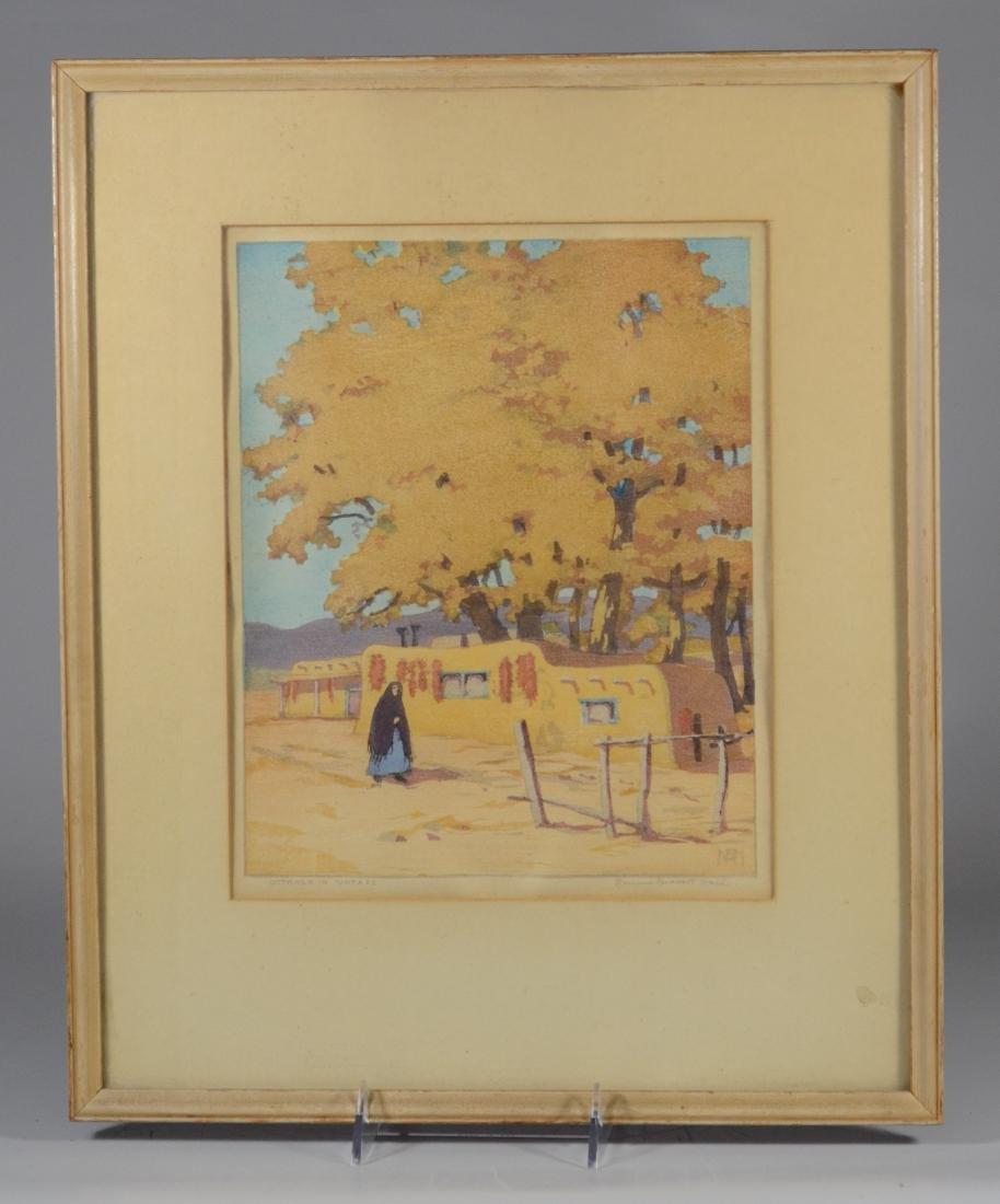 Norma Bassett Hall, color woodblock October in Santa Fe - 2