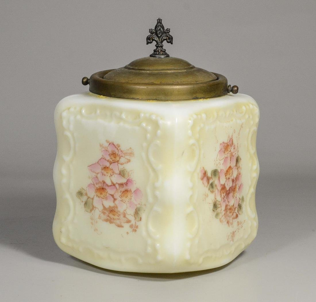 Wavecrest square covered jar, molded and painted