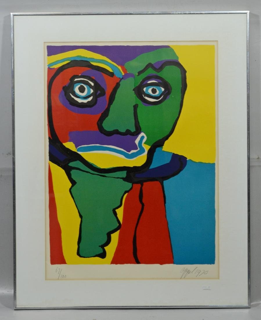 Karel Appel, signed color lithograph, figural abstract - 2