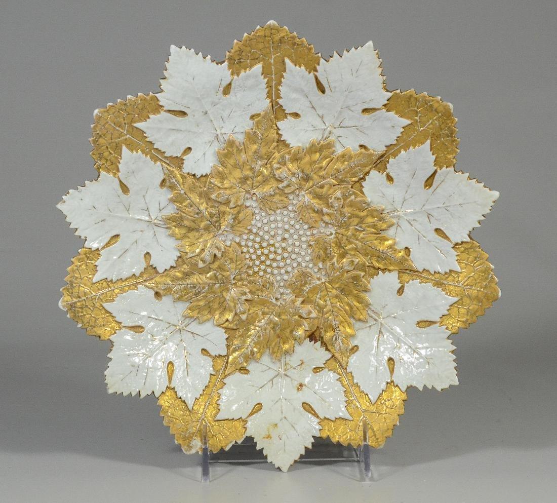 """Gilt Decorated Meissen Porcelain Leaf Plate; 10 1/2"""""""