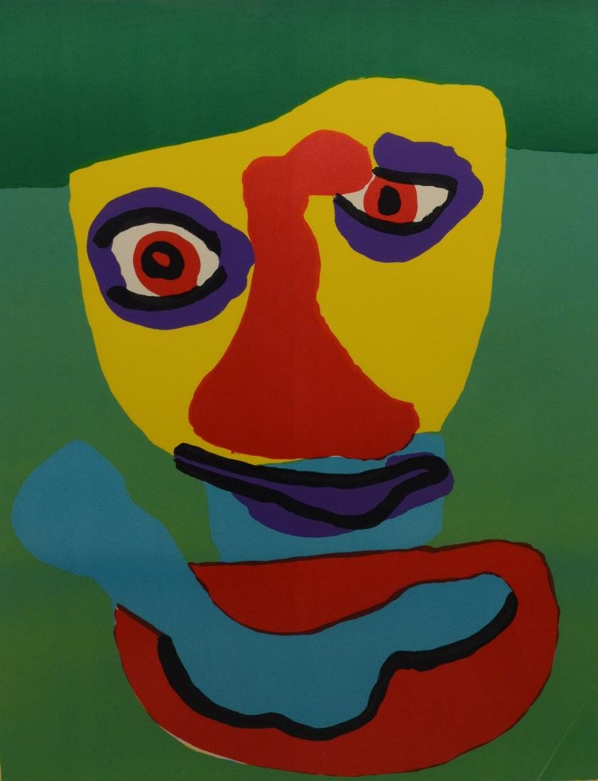 Karel Appel, signed color lithograph, figural abstract
