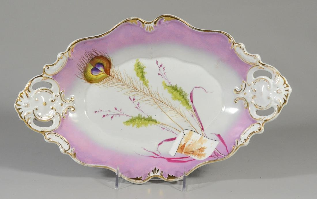 Oval Scalloped KPM peacock feather Porcelain Bowl