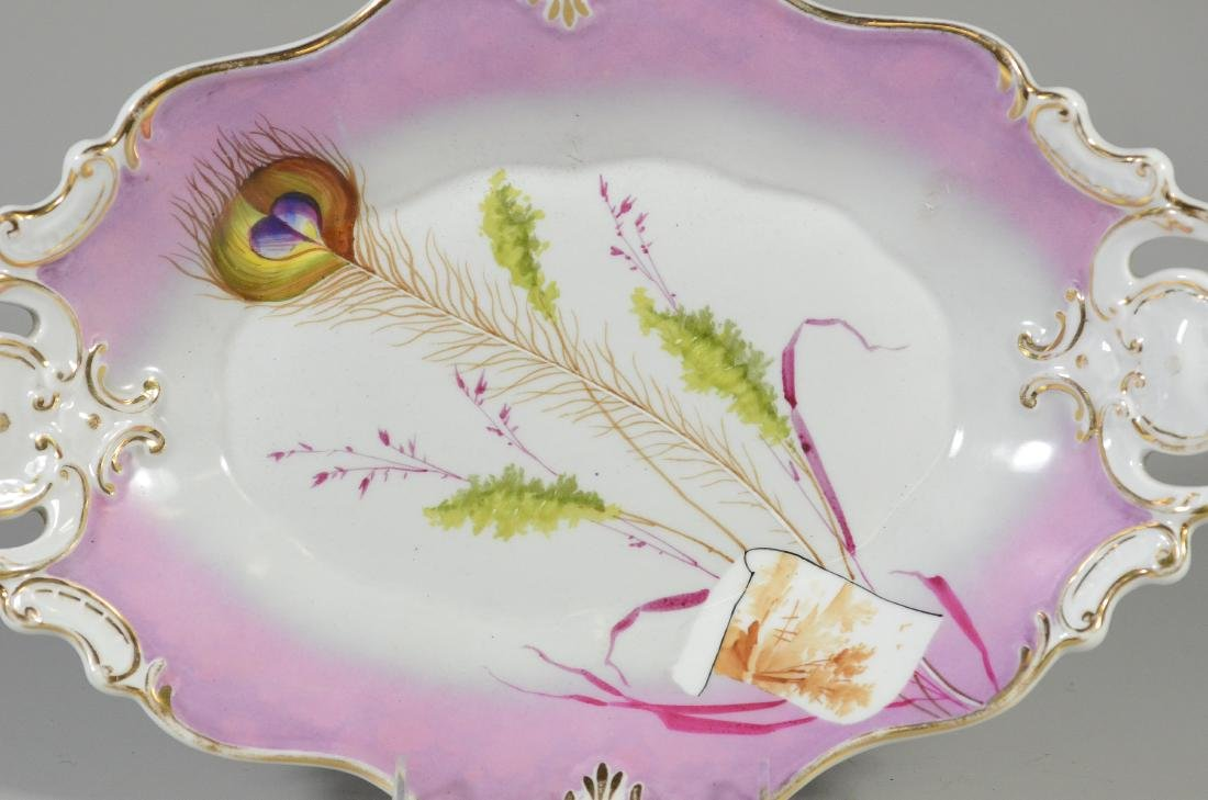 Oval Scalloped KPM peacock feather Porcelain Bowl - 2