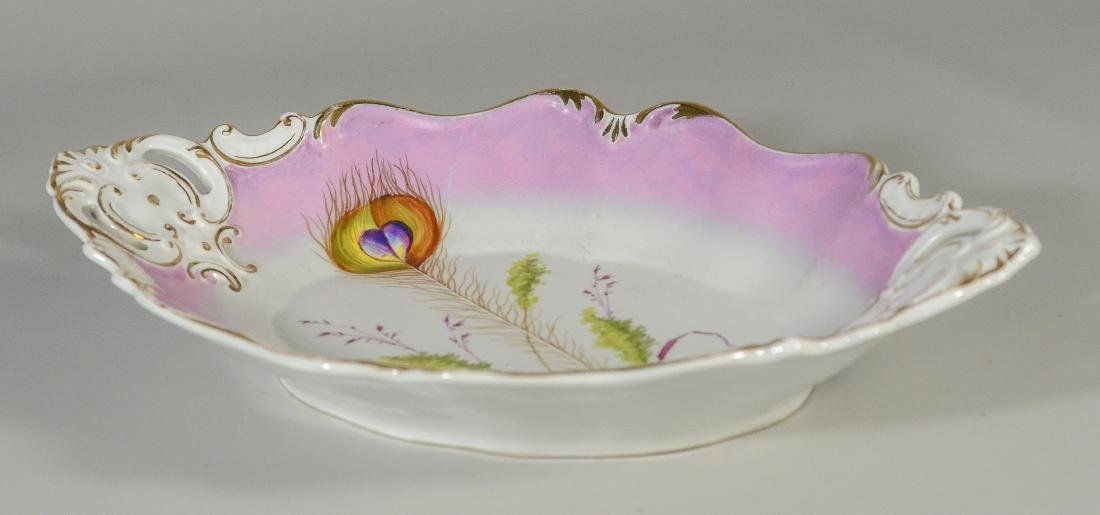 Oval Scalloped KPM peacock feather Porcelain Bowl - 5