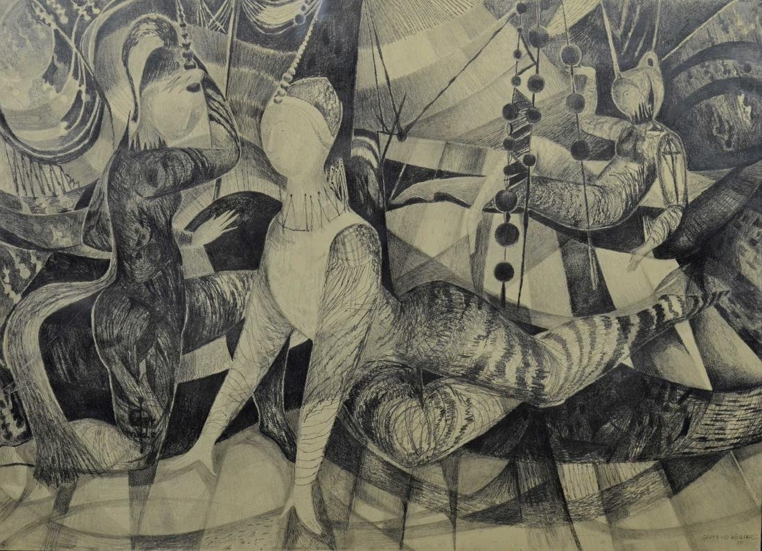 Gertrude Kohler), graphite on paper drawing of acrobats