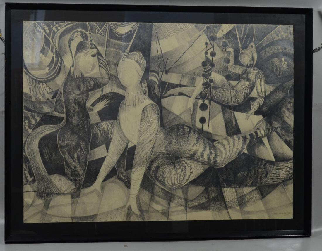 Gertrude Kohler), graphite on paper drawing of acrobats - 2