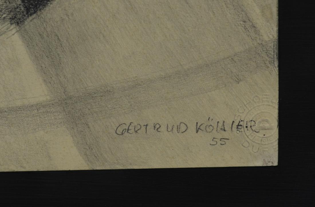 Gertrude Kohler), graphite on paper drawing of acrobats - 3