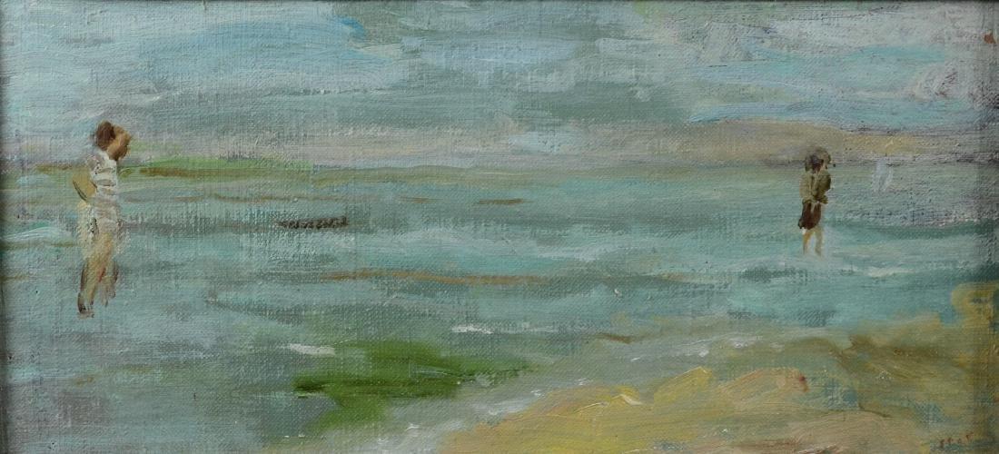 "Gabrielle Spat, ""Sur la Plage"" oil on canvasboard"