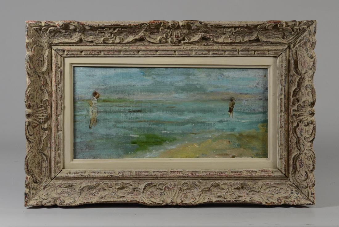 "Gabrielle Spat, ""Sur la Plage"" oil on canvasboard - 2"