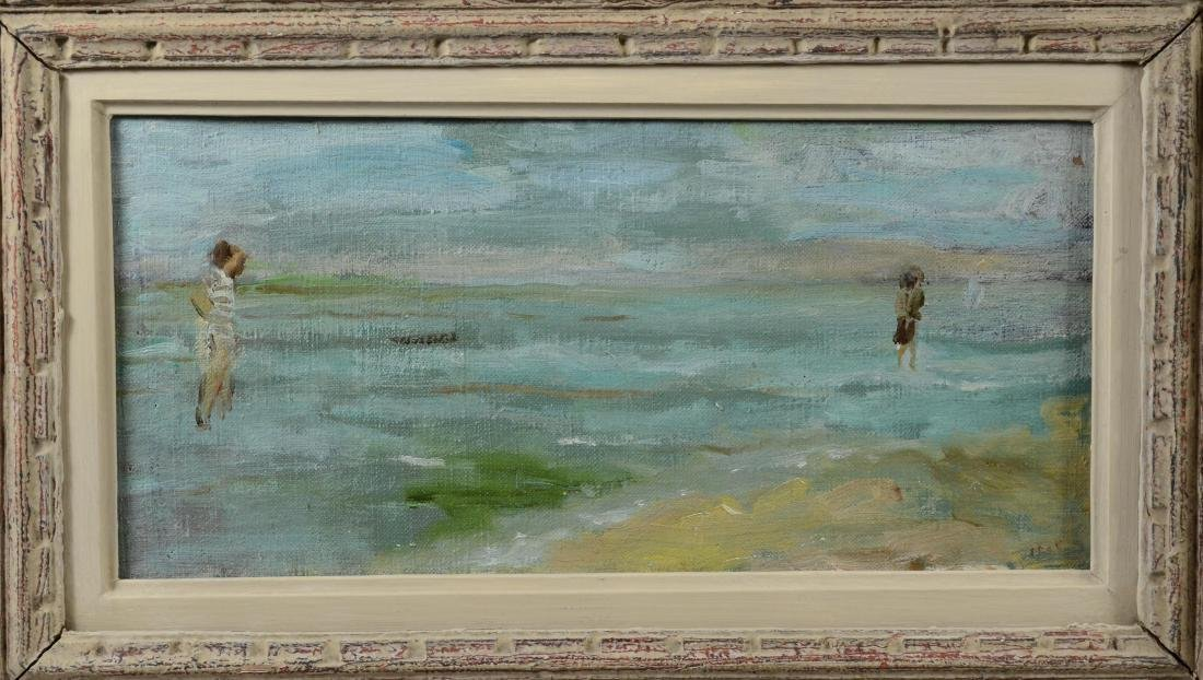 "Gabrielle Spat, ""Sur la Plage"" oil on canvasboard - 3"