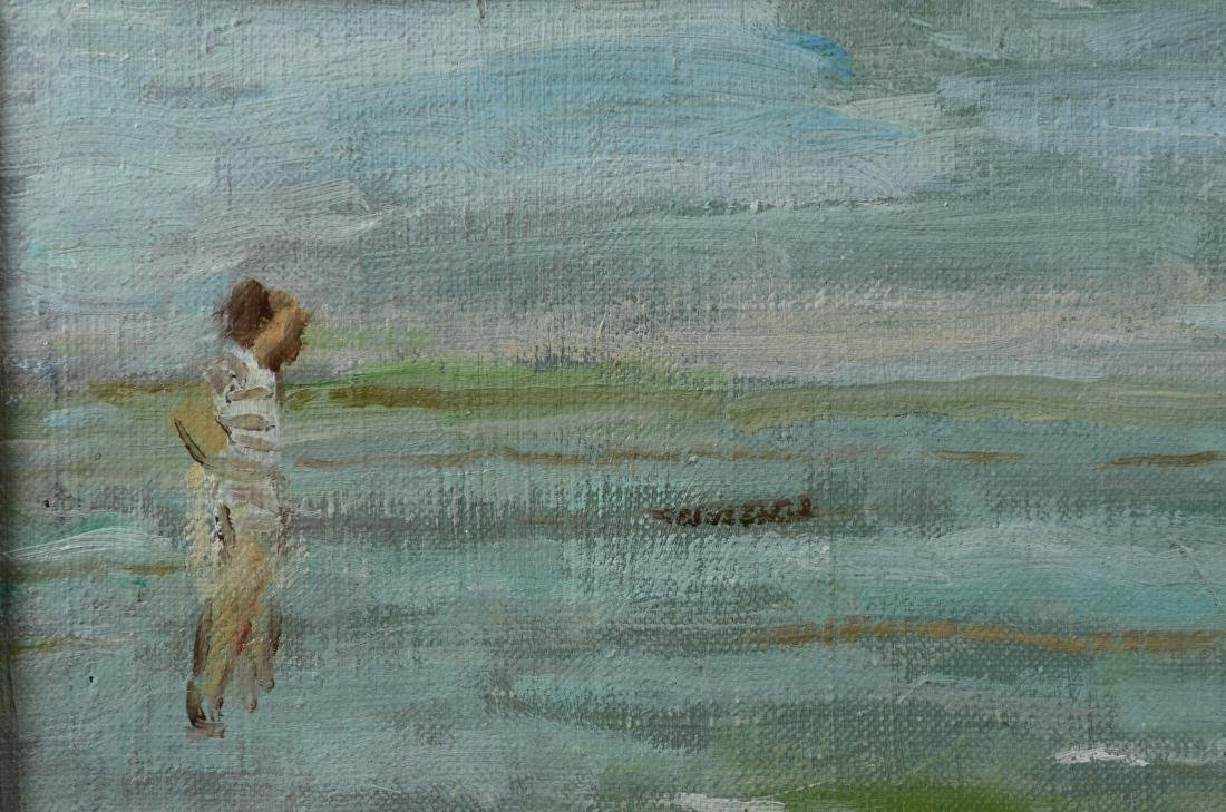"Gabrielle Spat, ""Sur la Plage"" oil on canvasboard - 5"