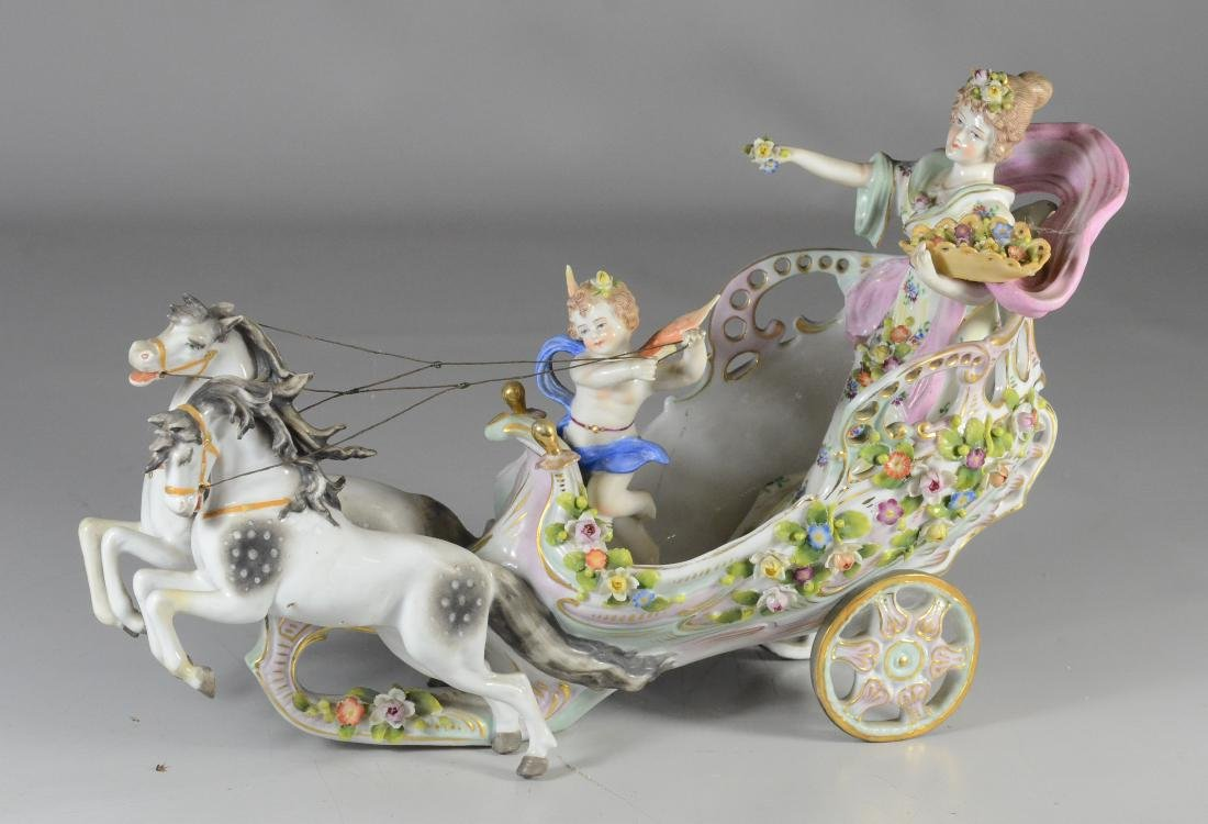Sitzendorf group of a maiden and cupid in a chariot