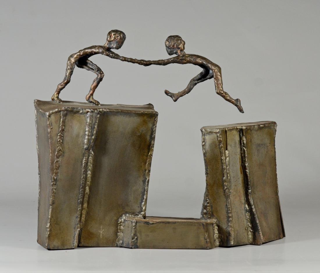 Harold Kimmelman brutalist sculpture of two children