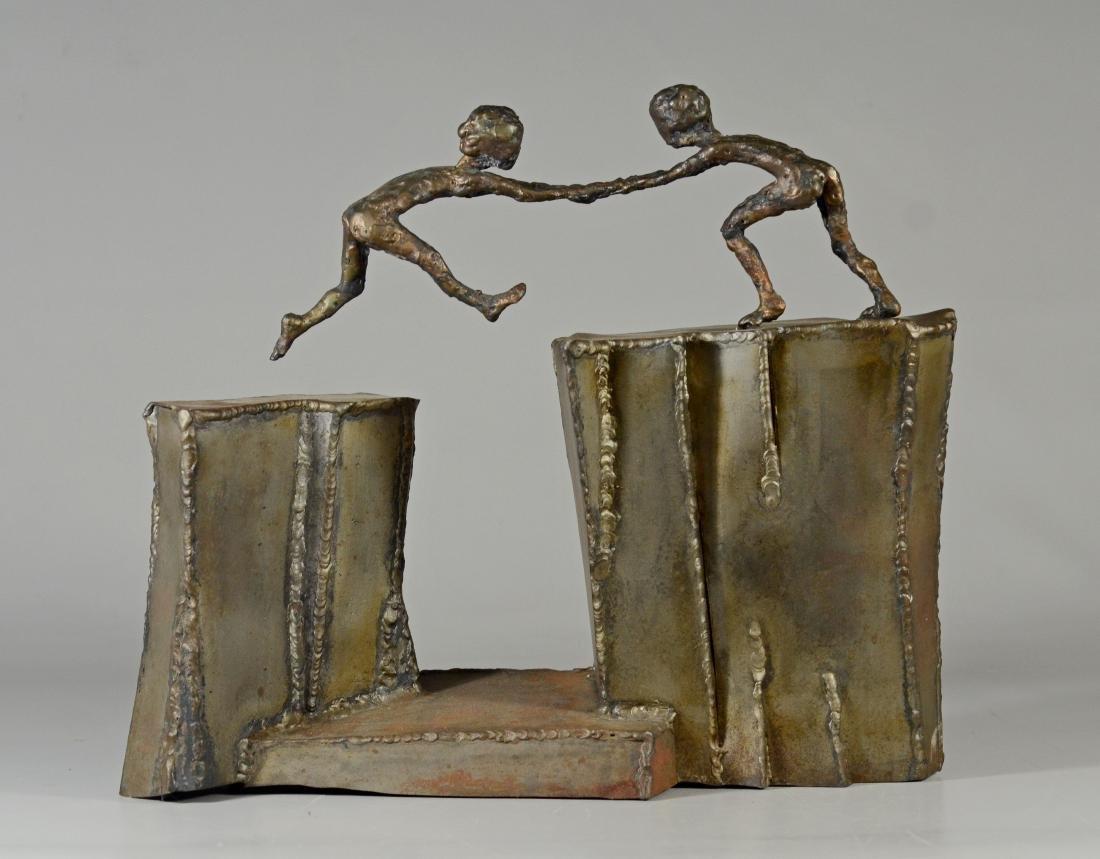 Harold Kimmelman brutalist sculpture of two children - 3
