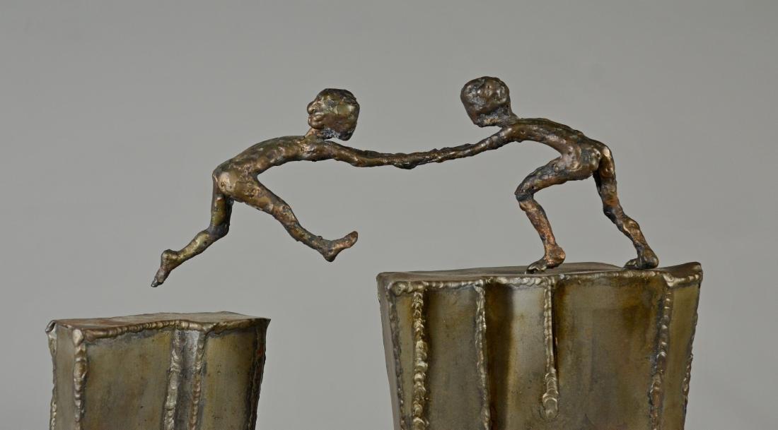 Harold Kimmelman brutalist sculpture of two children - 4