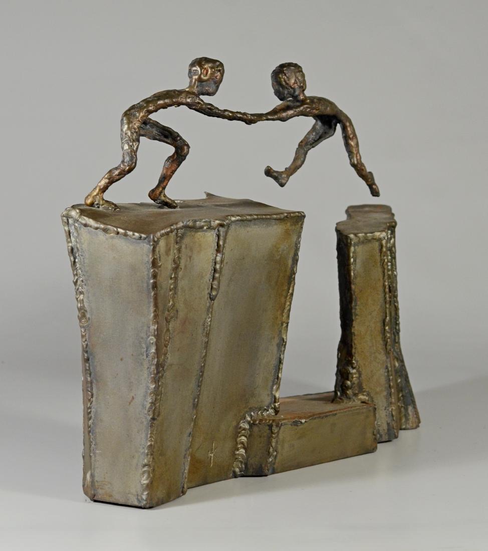 Harold Kimmelman brutalist sculpture of two children - 6