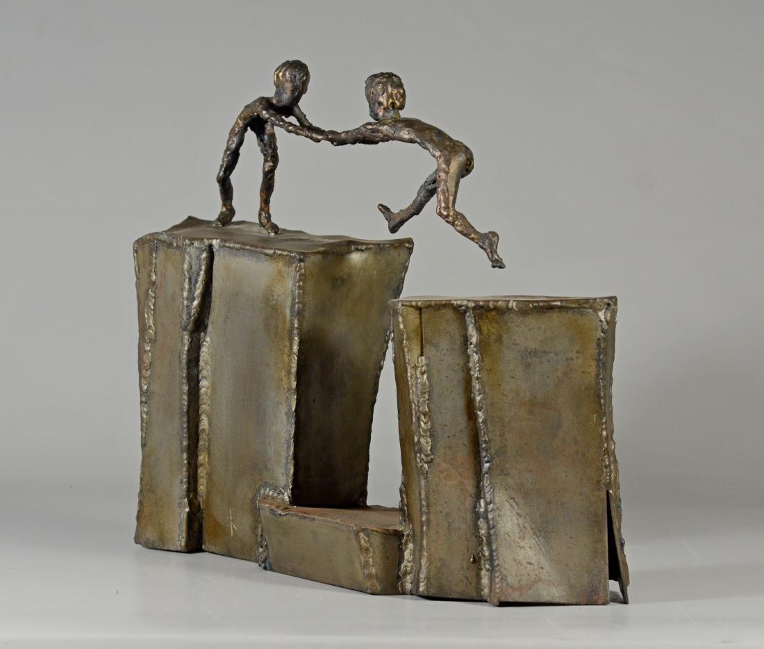 Harold Kimmelman brutalist sculpture of two children - 8