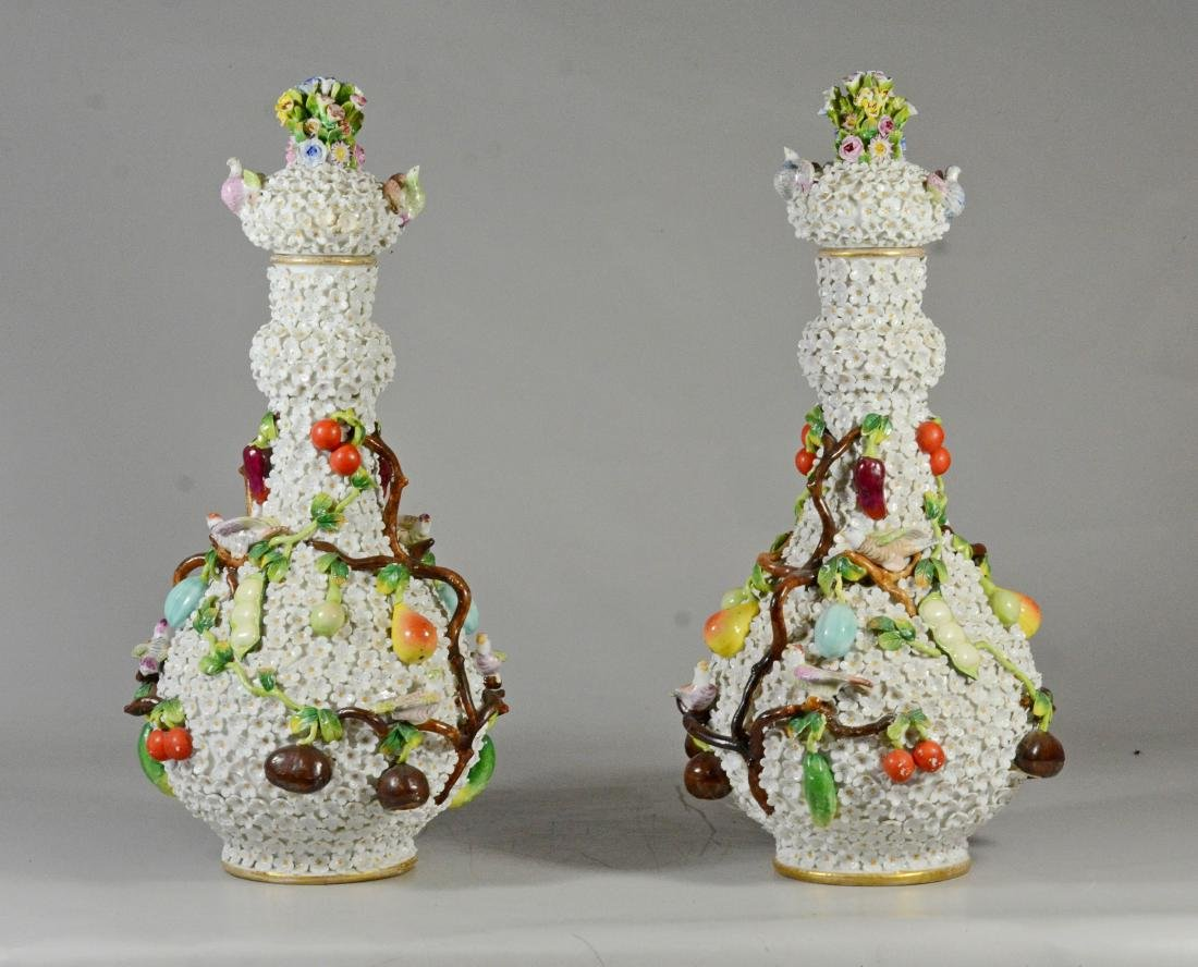 Pair of Volkstedt 'Schneeballen' covered bottle vase