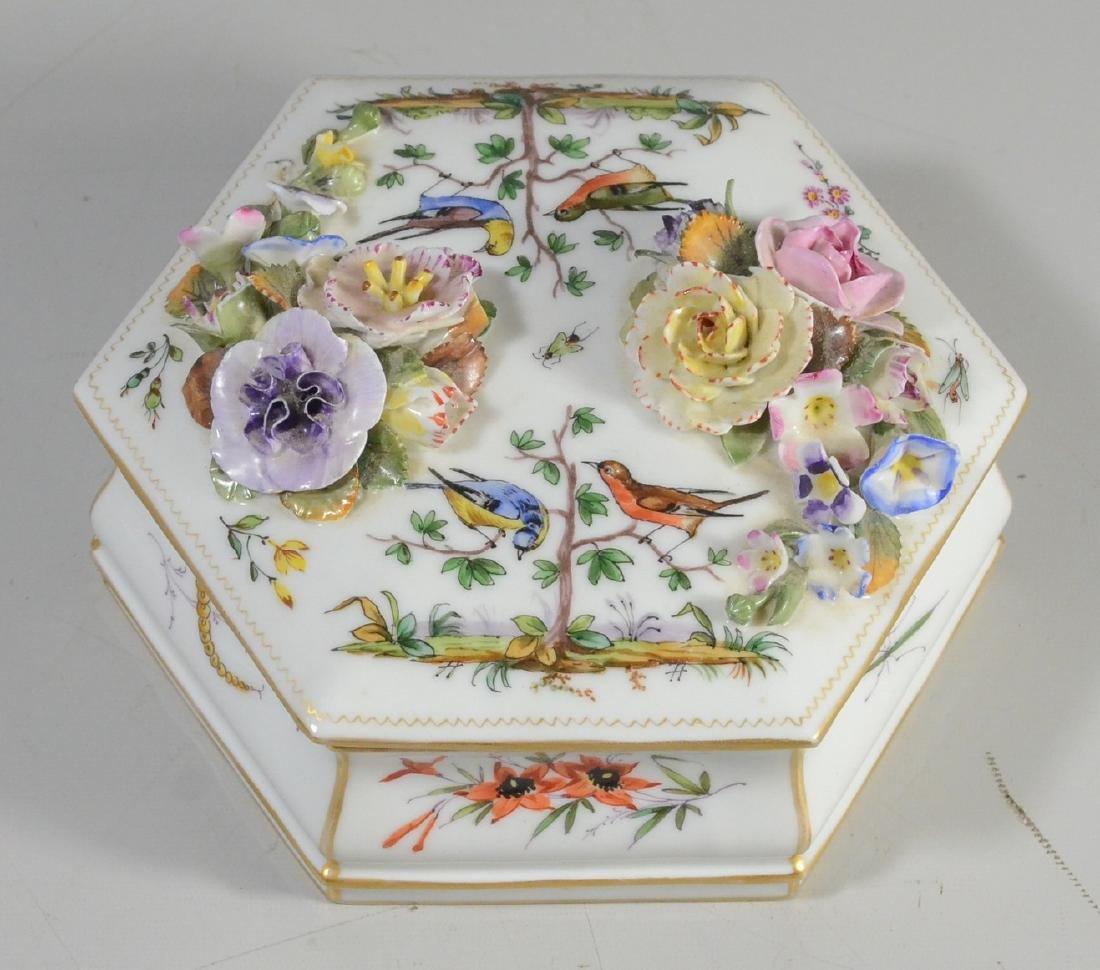 Wallendorf-type hexagonal covered box, 20th C