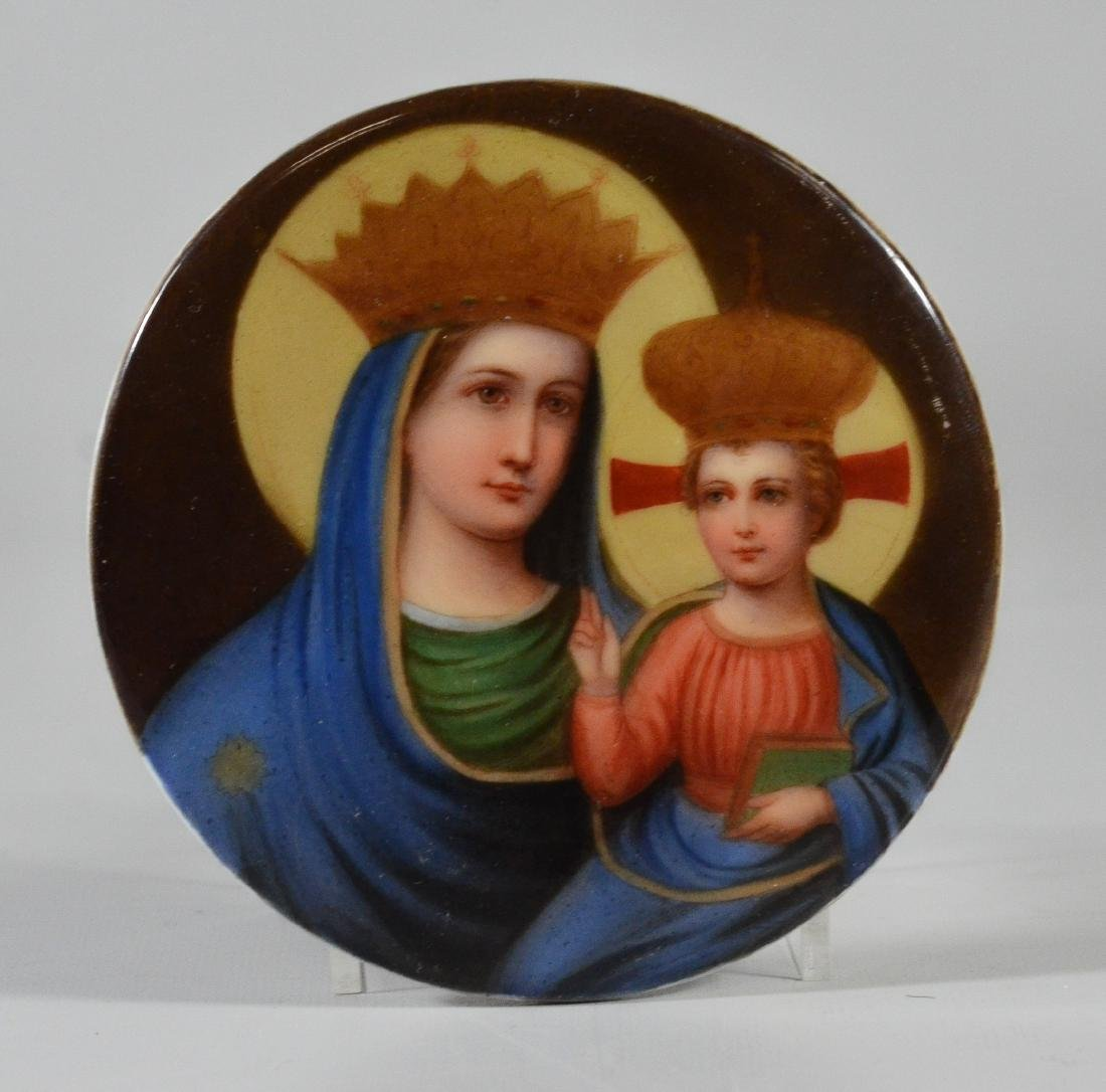 (5) oval/round porcelain plaques with religious theme - 10