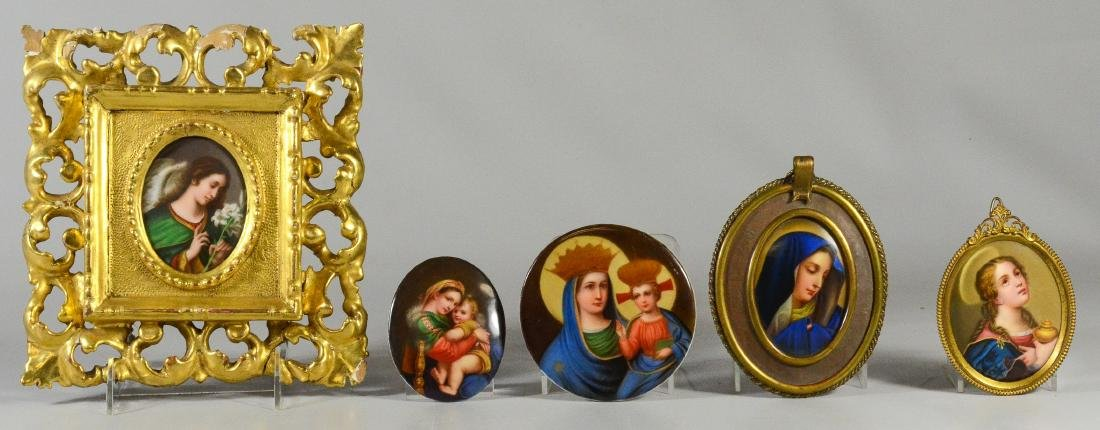 (5) oval/round porcelain plaques with religious theme
