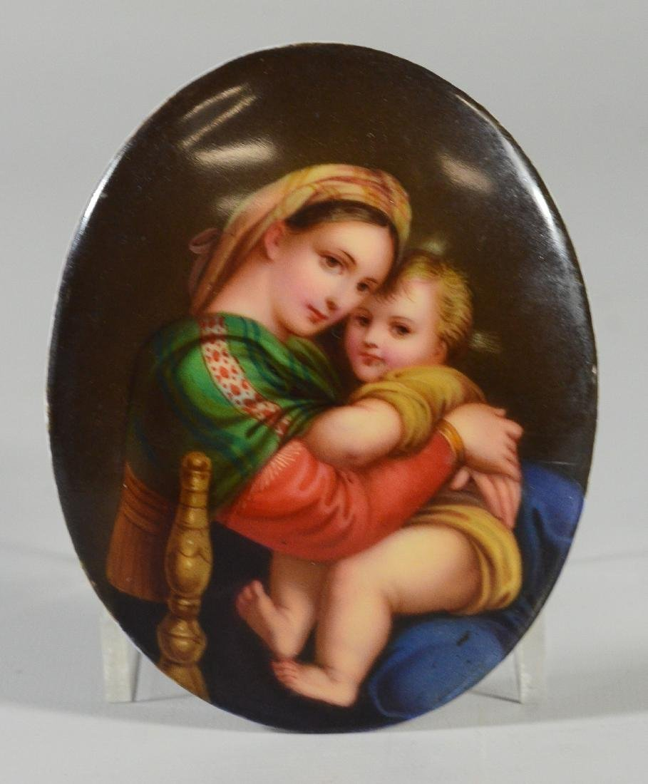 (5) oval/round porcelain plaques with religious theme - 7