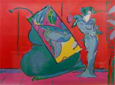 """Peter Max, signed serigraph print, """"Lady on Red"""""""