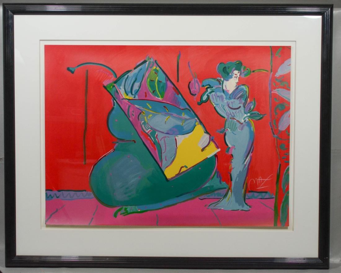 "Peter Max, signed serigraph print, ""Lady on Red"" - 2"