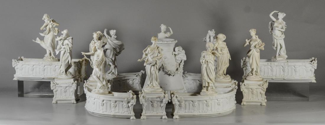 13 pc Volkstedt Porcelain Parian Classical Centerpiece