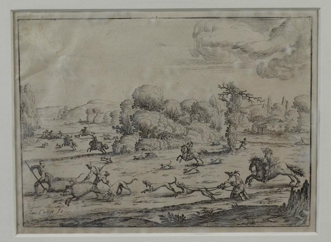 Jacques Callot, etching on paper of a boar hunt