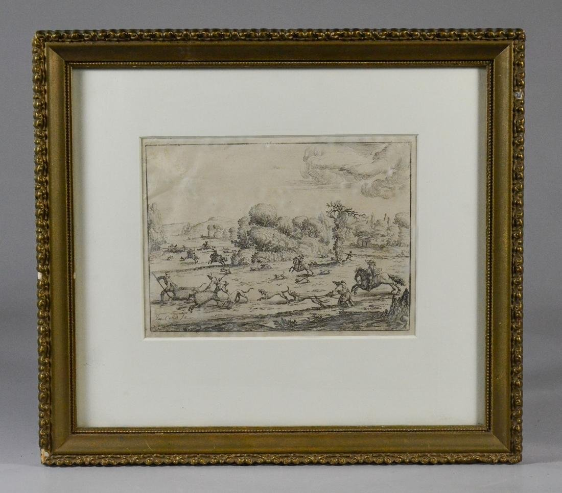 Jacques Callot, etching on paper of a boar hunt - 2