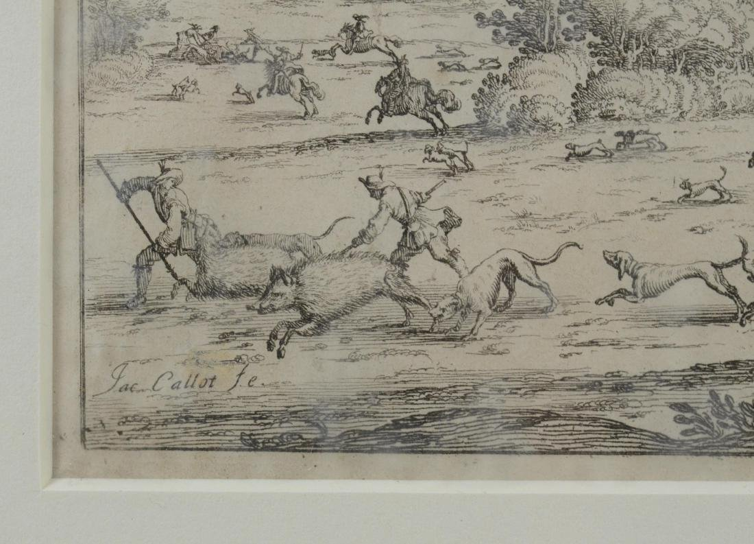 Jacques Callot, etching on paper of a boar hunt - 3