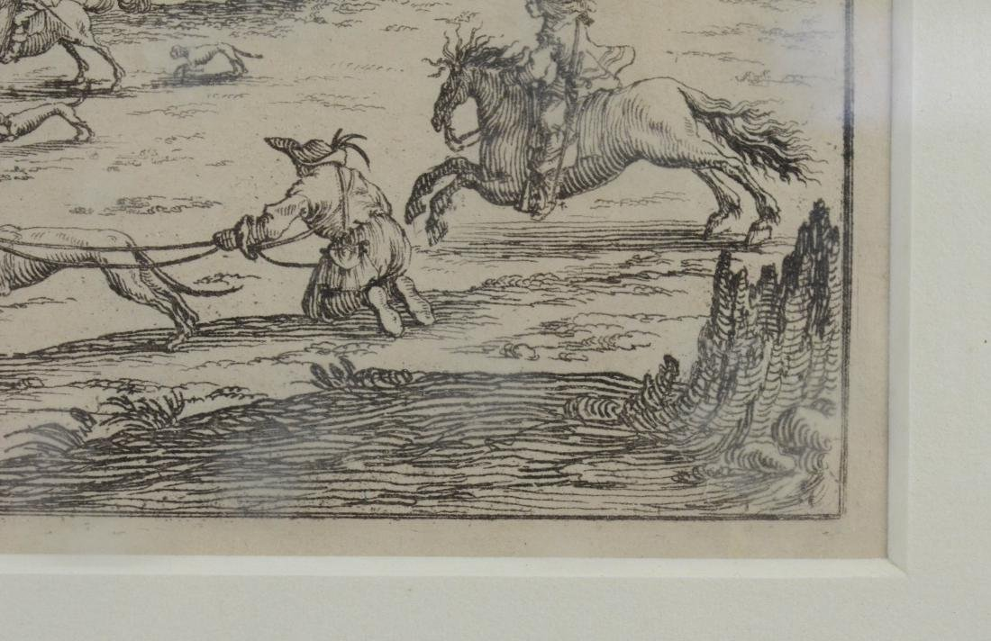 Jacques Callot, etching on paper of a boar hunt - 5
