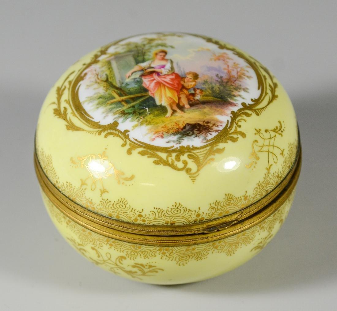 Meissen circular porcelain box, maiden with child
