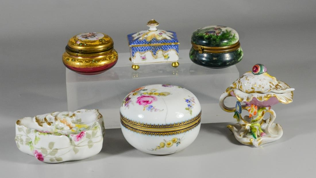 6 Dresser Boxes including Meissen, Dresden, Limoges