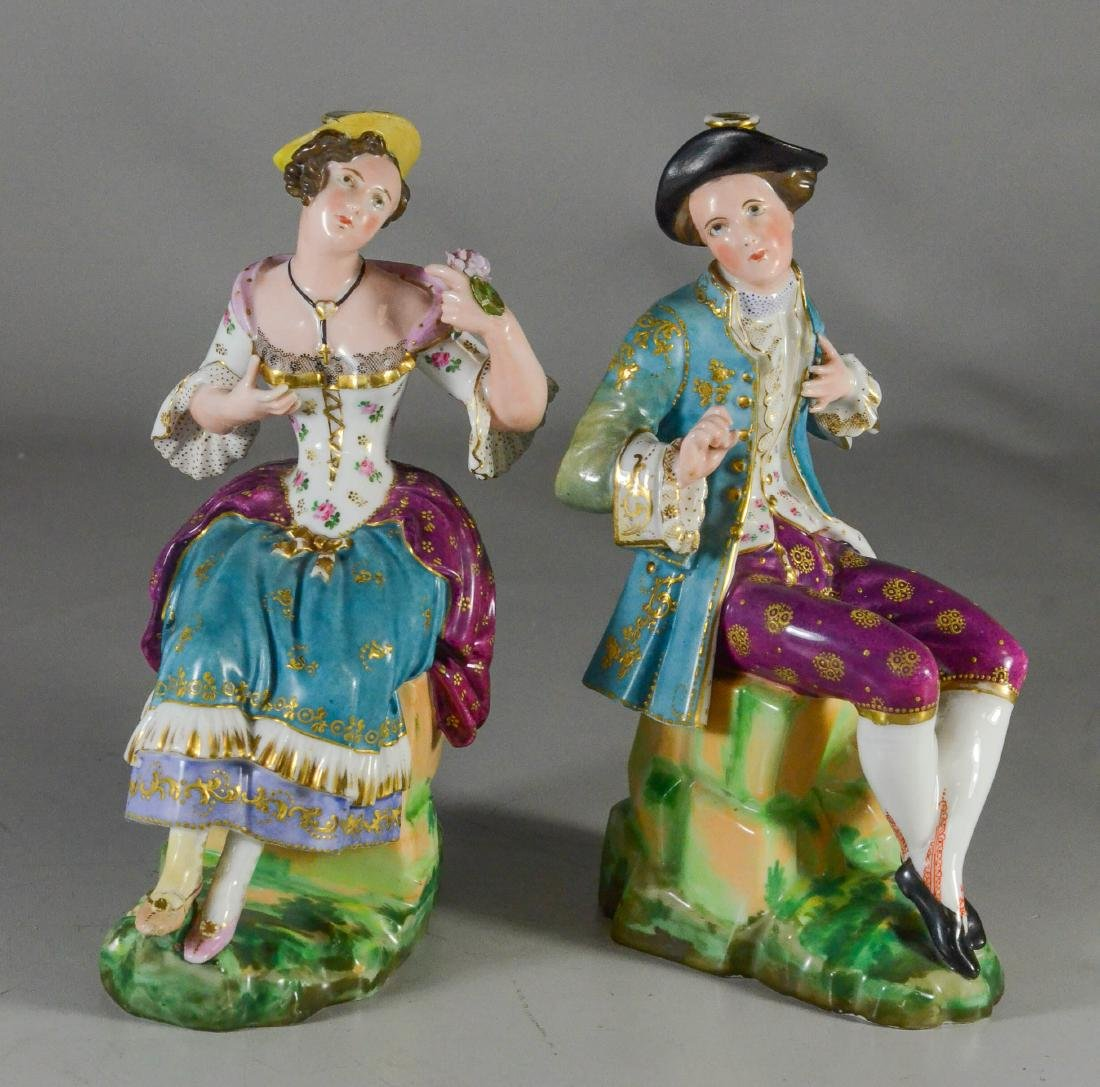 Pair of Paris porcelain figural scent bottles