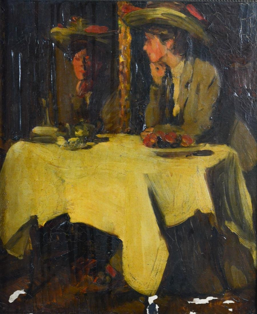 "Everett Lloyd Bryant, oil painting ""Parisian Cafe"""