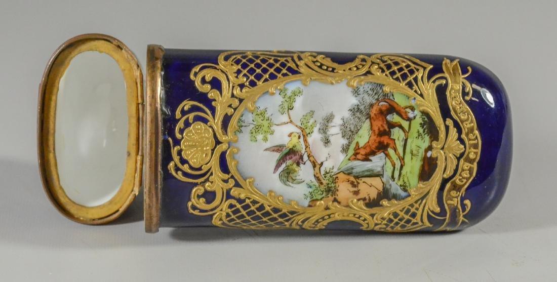 Sevres-type etui, late 19th C, birds & animals
