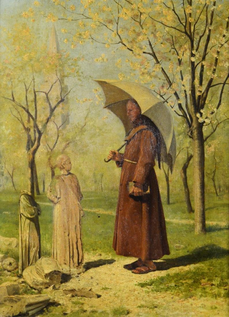 19th C oil painting, monk in a park landscape