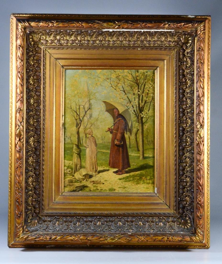 19th C oil painting, monk in a park landscape - 2