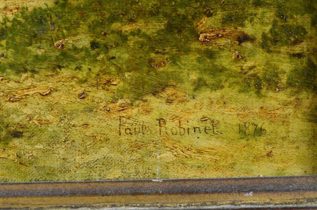 19th C oil painting, monk in a park landscape - 3