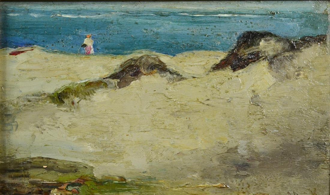 Mary Kremelberg, oil on wood panel Beach Scene