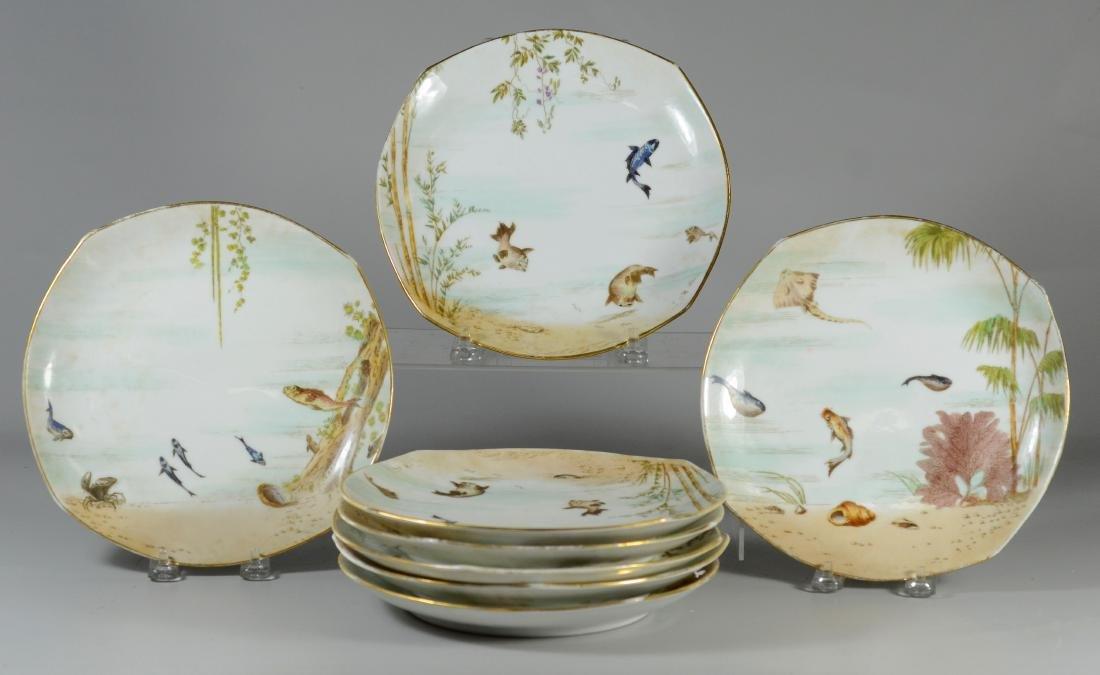 (8) Tresseman & Vogt, Limoges porcelain fish plates