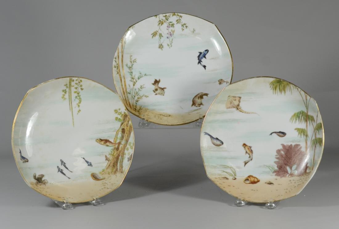 (8) Tresseman & Vogt, Limoges porcelain fish plates - 2
