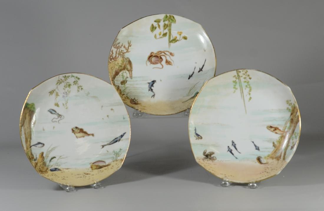 (8) Tresseman & Vogt, Limoges porcelain fish plates - 3