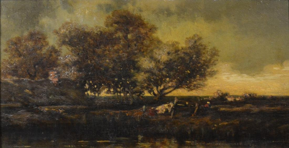 19th C Continental school landscape painting, unsigned,
